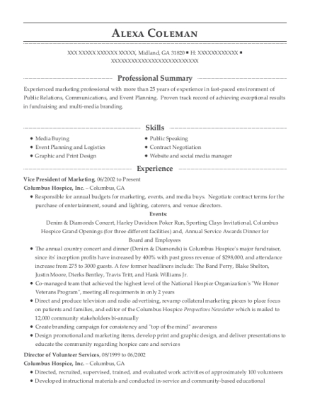 Vice President of Marketing resume example Georgia