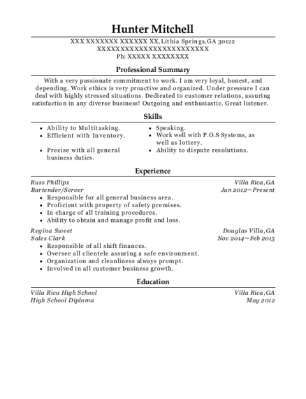 Bartender resume example Georgia