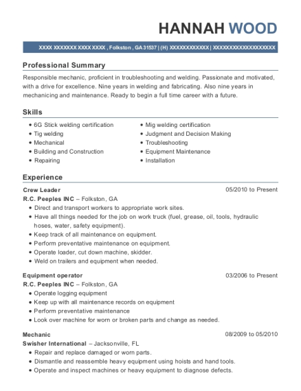 Crew Leader resume format Georgia
