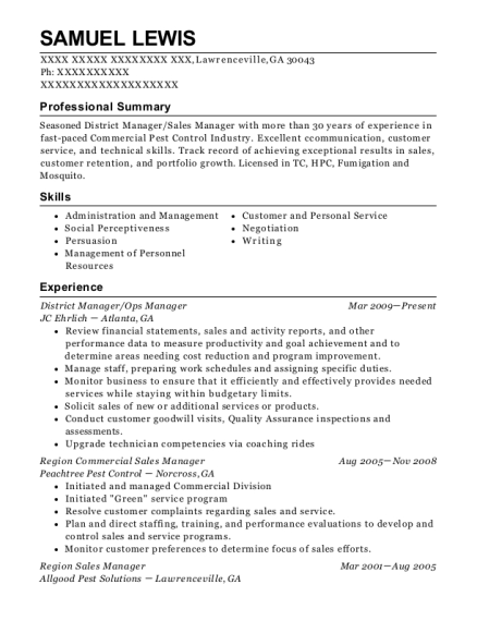 District Manager resume example Georgia