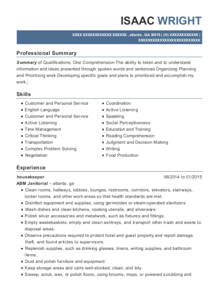 Housekeeper resume sample Georgia