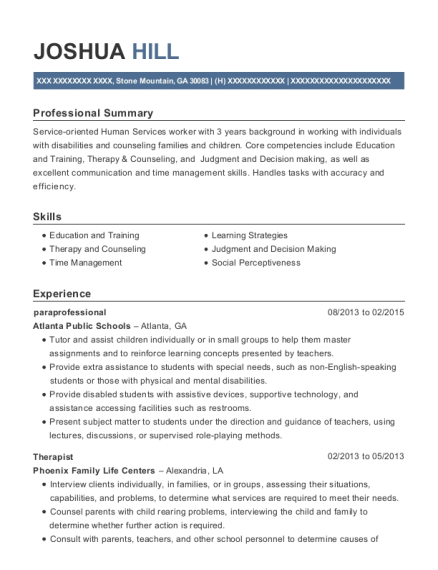Paraprofessional resume example Georgia