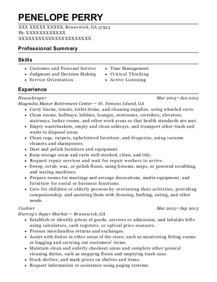 Housekeeper resume format Georgia
