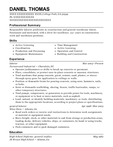 Laborer resume example Georgia