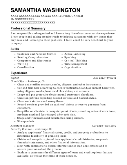 Stylist resume sample Georgia