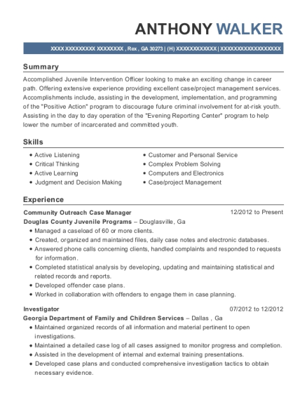 Community Outreach Case Manager resume template Georgia
