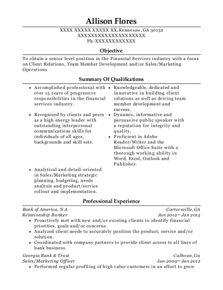 Relationship Banker resume sample Georgia