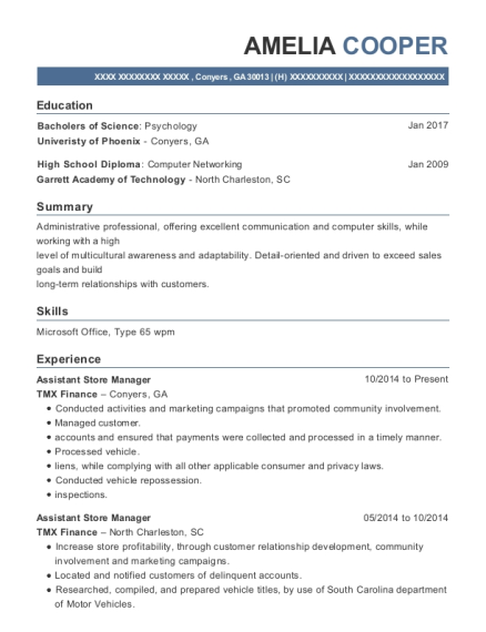 Assistant Store Manager resume sample Georgia