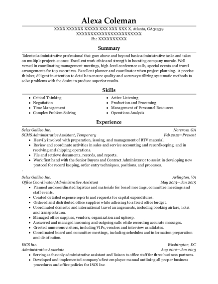 SCMS Administrative Assistant resume template Georgia