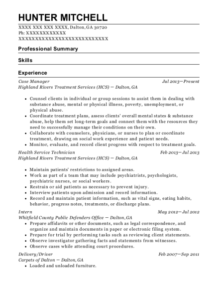 Case Manager resume format Georgia