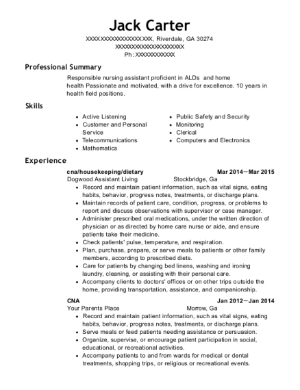cna resume template Georgia