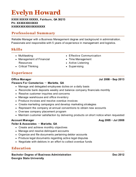 Office Manager resume format Georgia