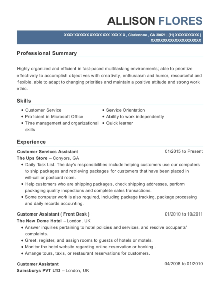 Customer Services Assistant resume template Georgia