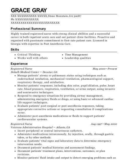 Registered Nurse resume sample Georgia