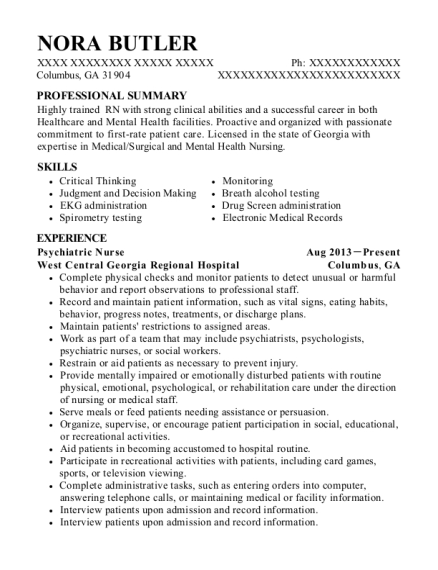 Psychiatric Nurse resume template Georgia