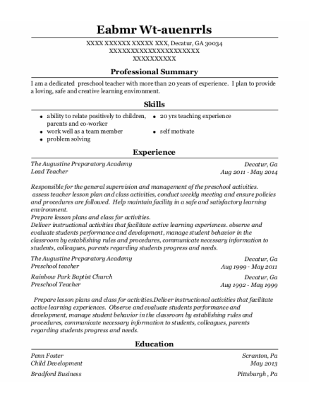 Lead Teacher resume format Georgia