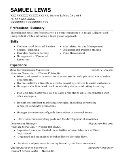 Zone Merchandising Supervisor resume example Georgia