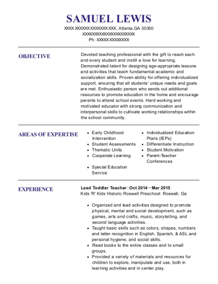 Lead Toddler Teacher resume sample Georgia