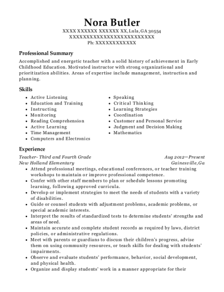 Teacher Third and Fourth Grade resume format Georgia