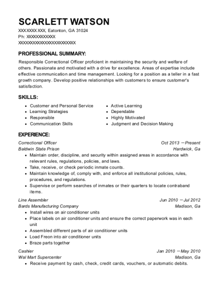 Correctional Officer resume template Georgia