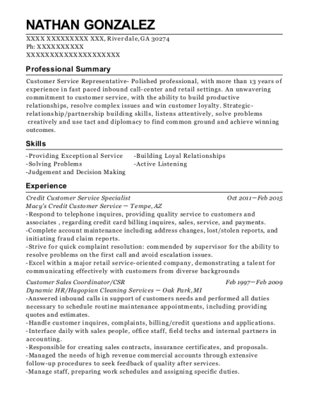 Credit Customer Service Specialist resume sample Georgia