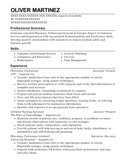 Pharmacy Technician resume format Georgia