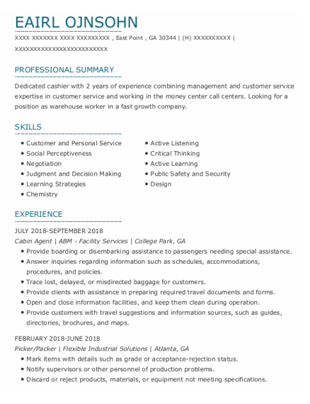 Los Angeles International Airport Cabin Agent Resume Sample