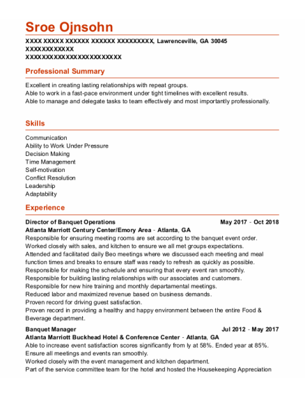 Banquet Manager resume example Georgia