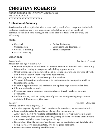Receptionist resume template Georgia