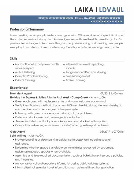 Front Desk Agent resume example Georgia