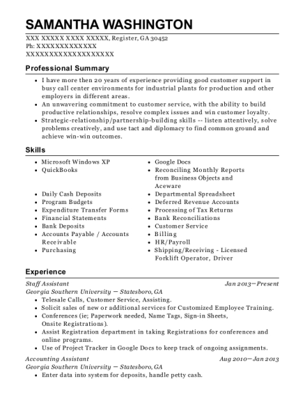 Staff Assistant resume format Georgia