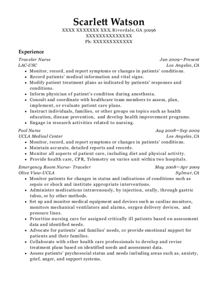 Traveler Nurse resume example Georgia