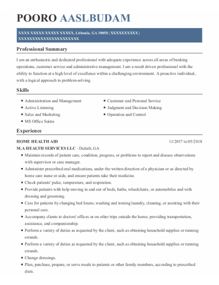 Home Health Aid resume format Georgia