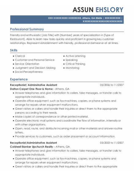 Receptionist resume format Georgia