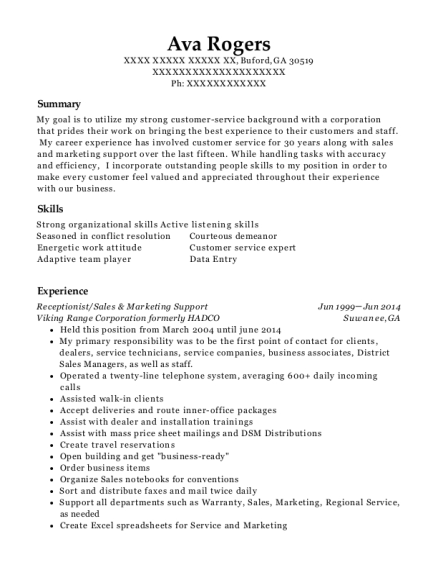 Receptionist resume sample Georgia