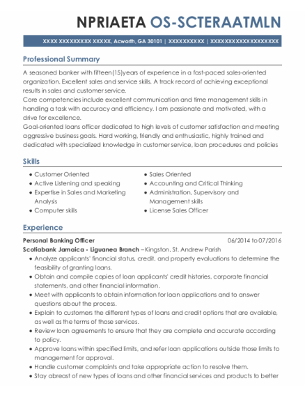 Personal Banking Officer resume template Georgia