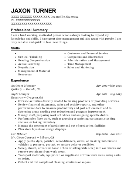 Assistant Manager resume template Georgia