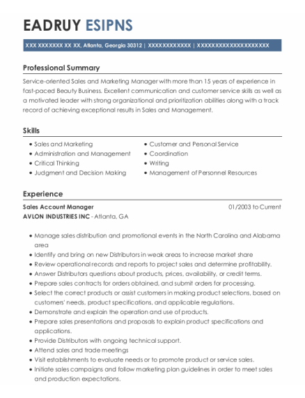 Sales Account Manager resume template GEORGIA