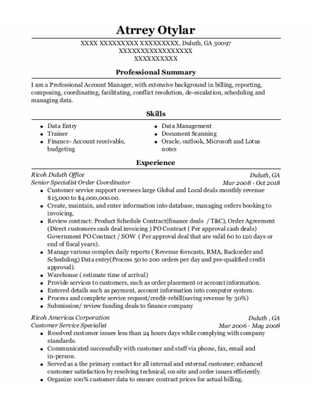 Customer Service Specialist resume sample Georgia