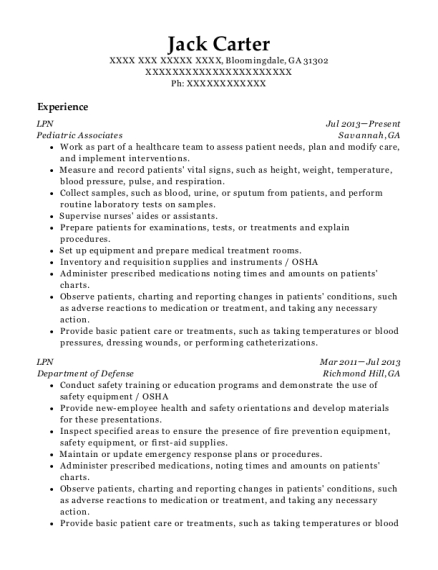 LPN resume sample Georgia
