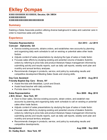 Telesales Representative resume example Georgia