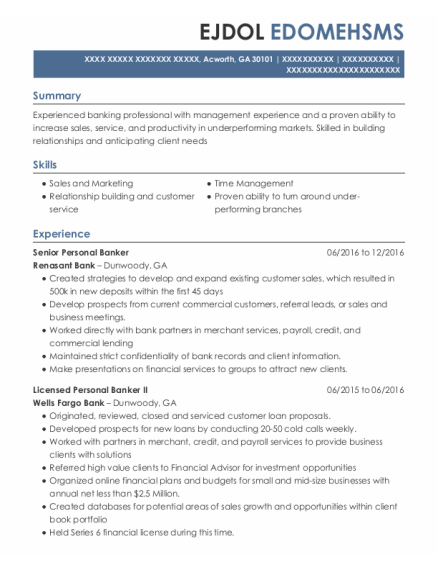 Senior Personal Banker resume sample Georgia