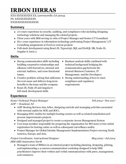 Project Coordinator resume example Georgia