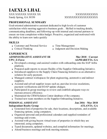 Administrative Assistant Iii resume template Georgia