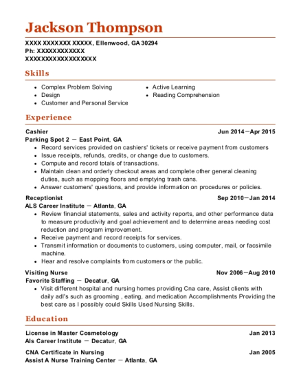 Cashier resume sample Georgia
