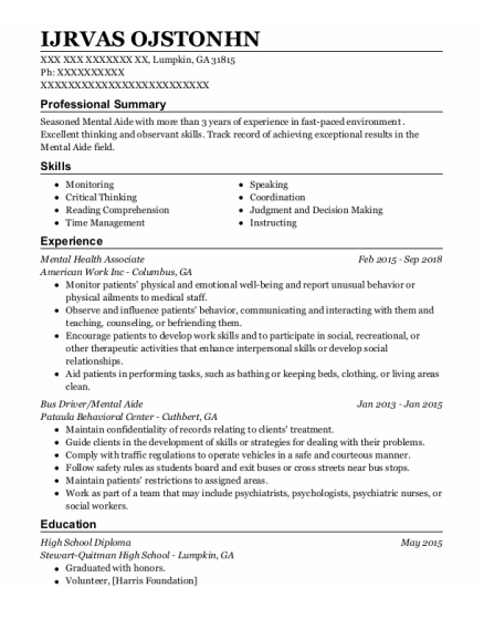 Mental Health Associate resume sample Georgia