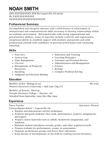 Piano Teacher resume sample Georgia