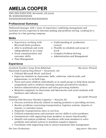 Assistant Teacher resume format Georgia