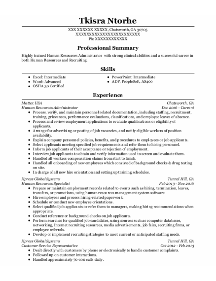Human Resources Administrator resume sample Georgia