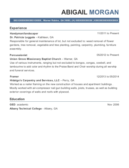 Handyman resume sample Georgia